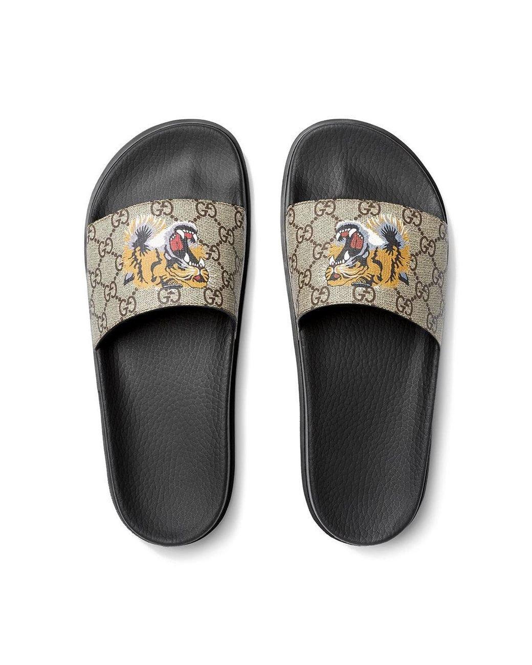 1c41ddcb75a Lyst - Gucci GG Supreme Tiger Slide Sandal in Brown for Men - Save 18%