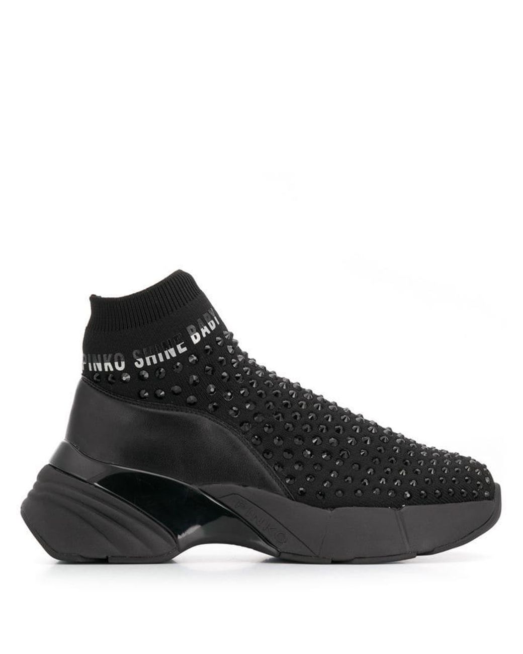 74e88bc3bc0 Pinko Studded Sock Sneakers in Black - Lyst