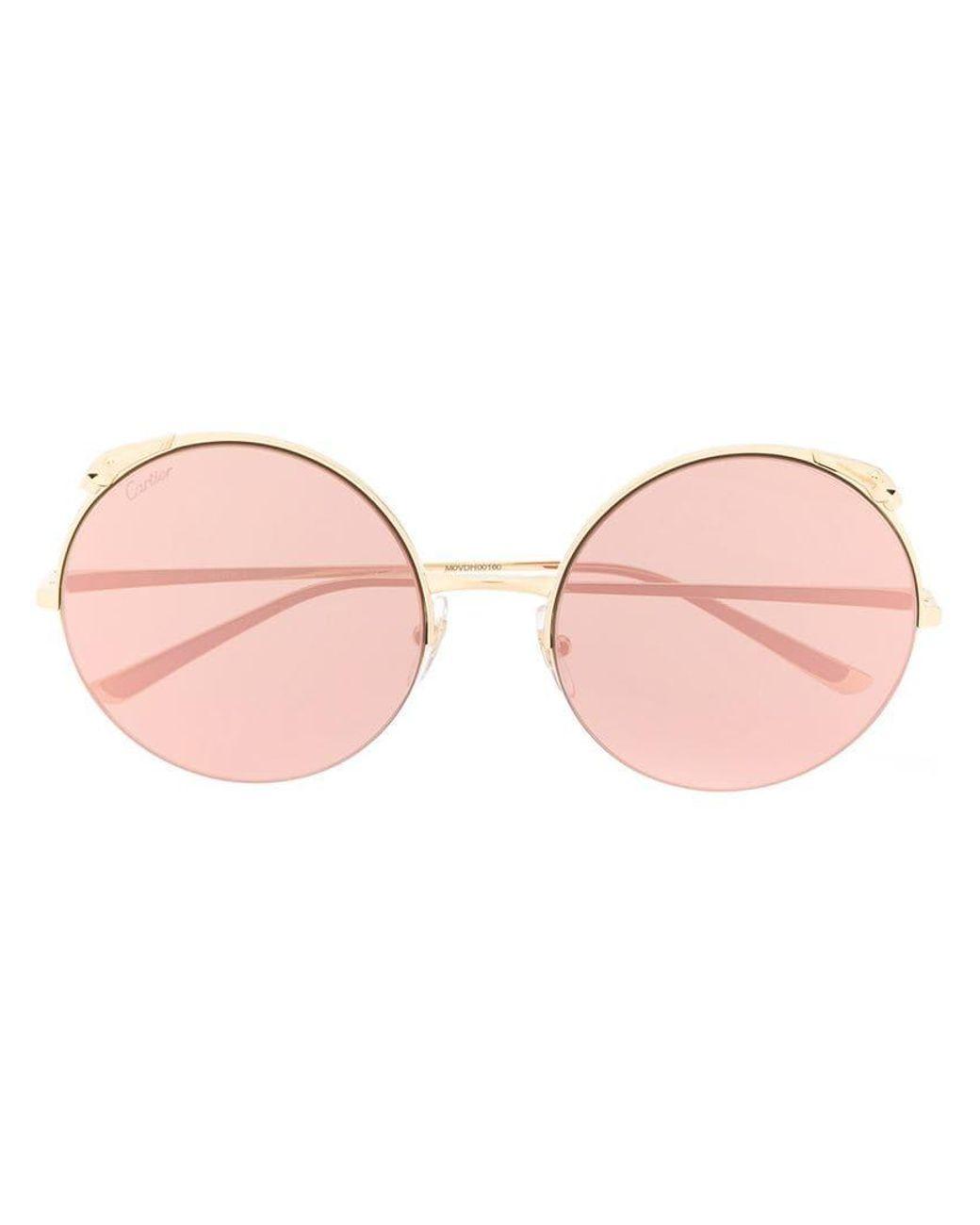 316ea0fbf4 Cartier Oversized Round Sunglasses in Metallic - Lyst