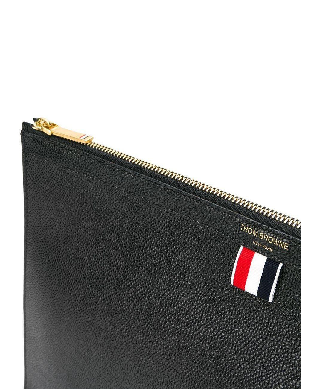 a017921238 Thom Browne Pebbled Leather Document Gusset Folio in Black for Men - Lyst