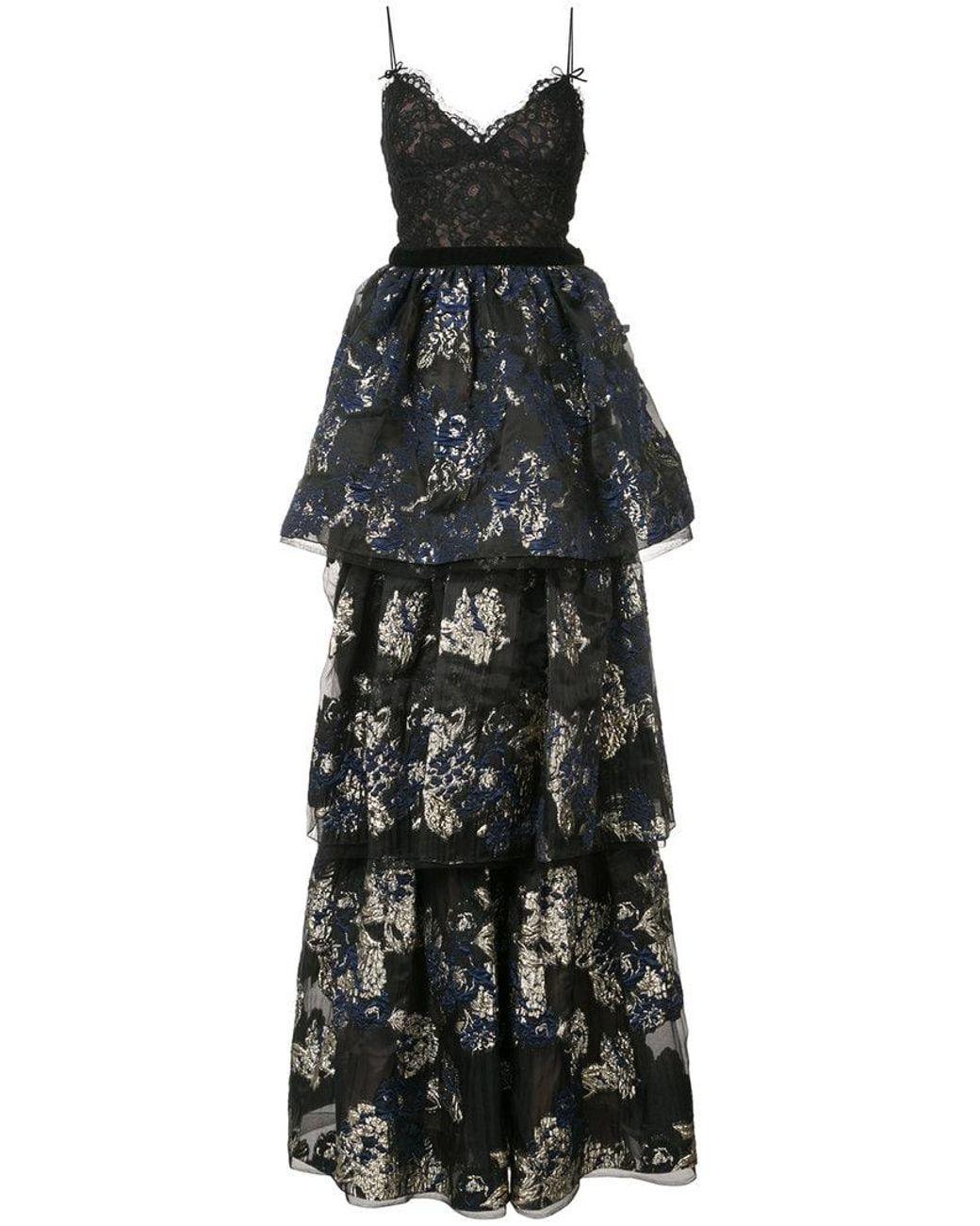 bc680f23d6e Marchesa notte Layered Skirt Evening Dress in Black - Lyst