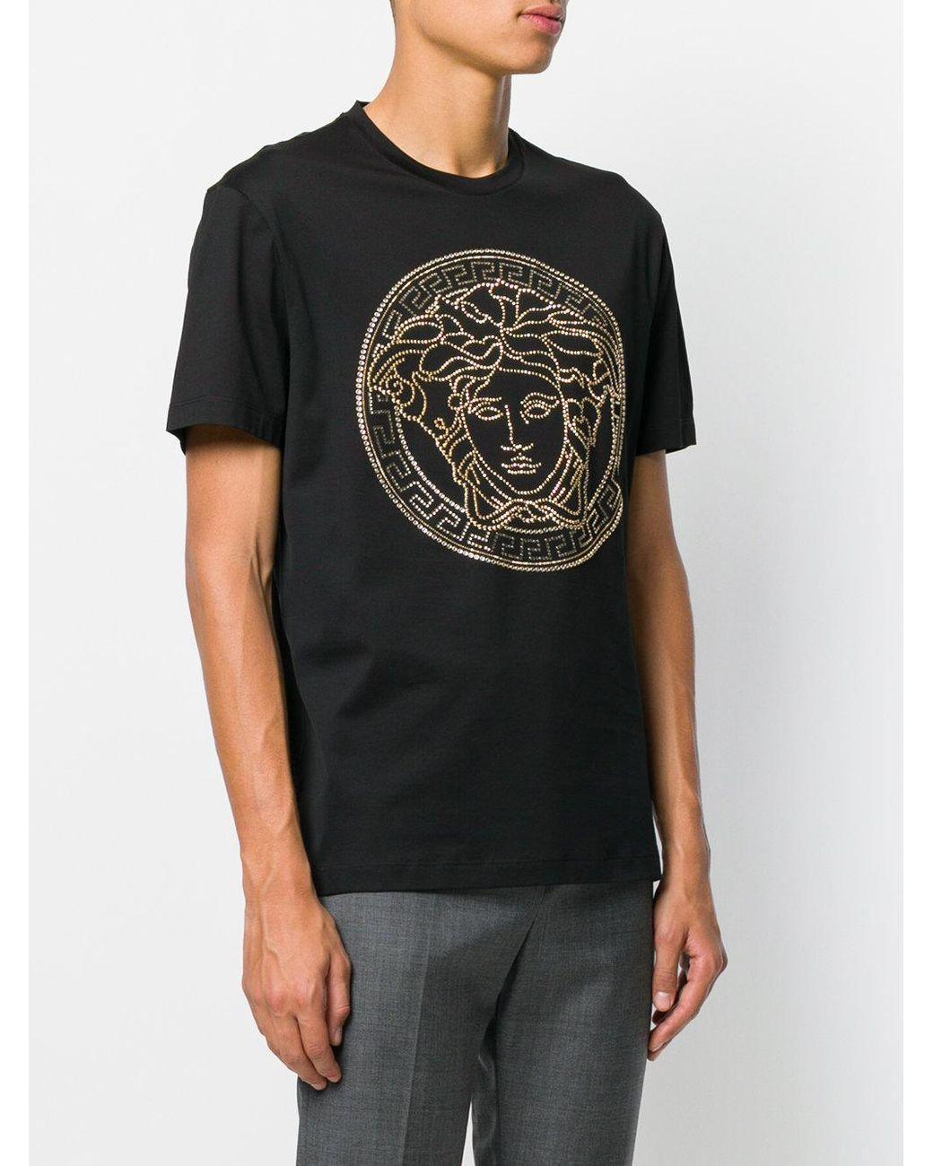 f6698324 Versace Medusa Crystal-embellished T-shirt in Black for Men - Save 27% -  Lyst