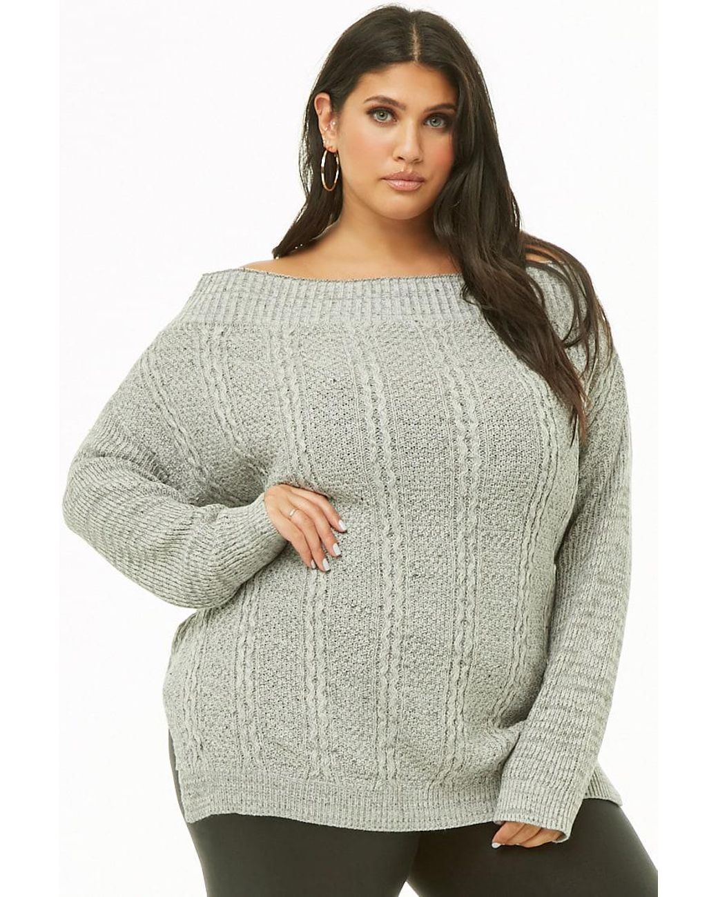 cc7f69f28 Forever 21. Gray Women s Plus Size Off-the-shoulder Cable-knit Jumper Jumper