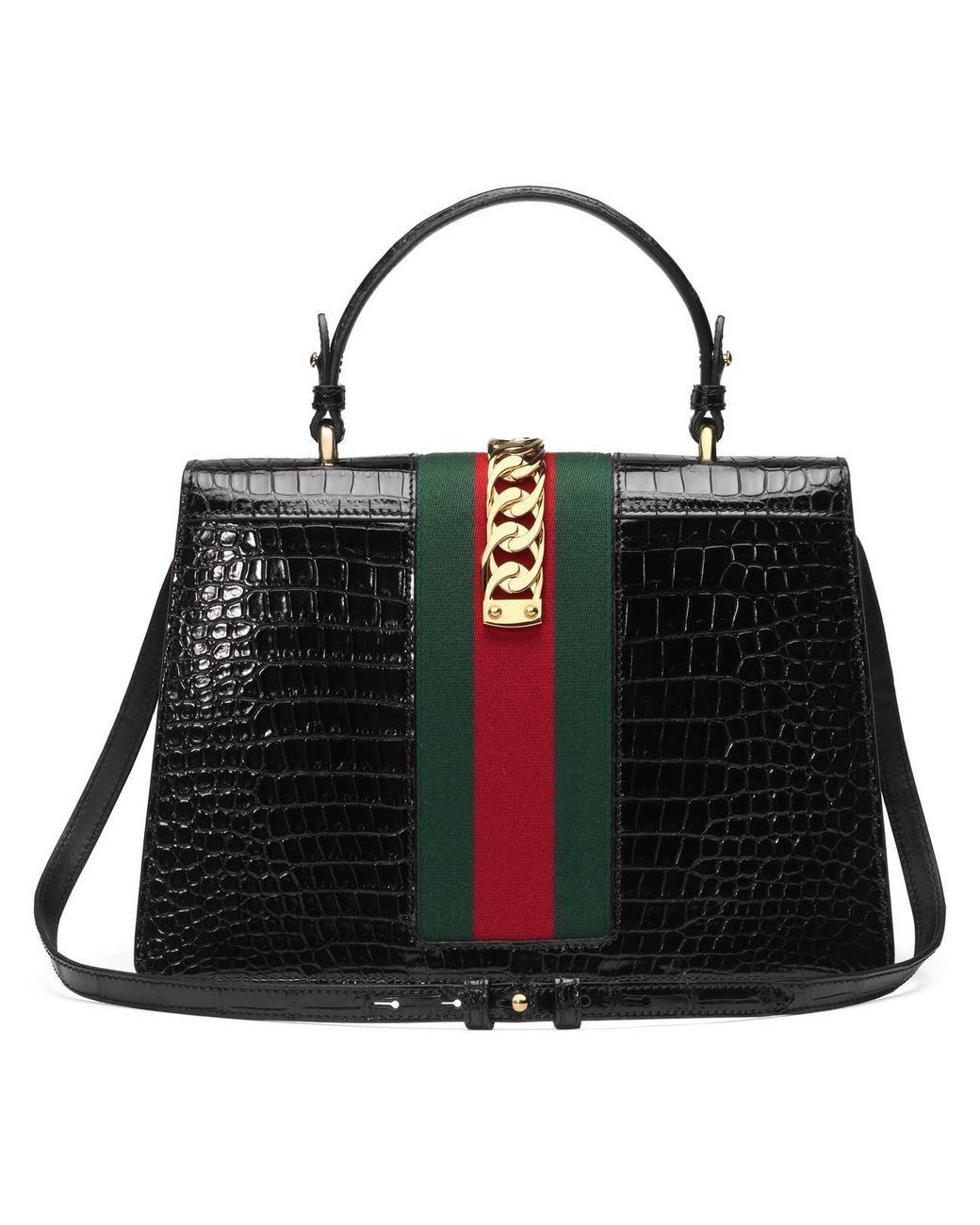 60aca6e847a474 Gucci Sylvie Medium Crocodile Top Handle Bag in Black - Lyst