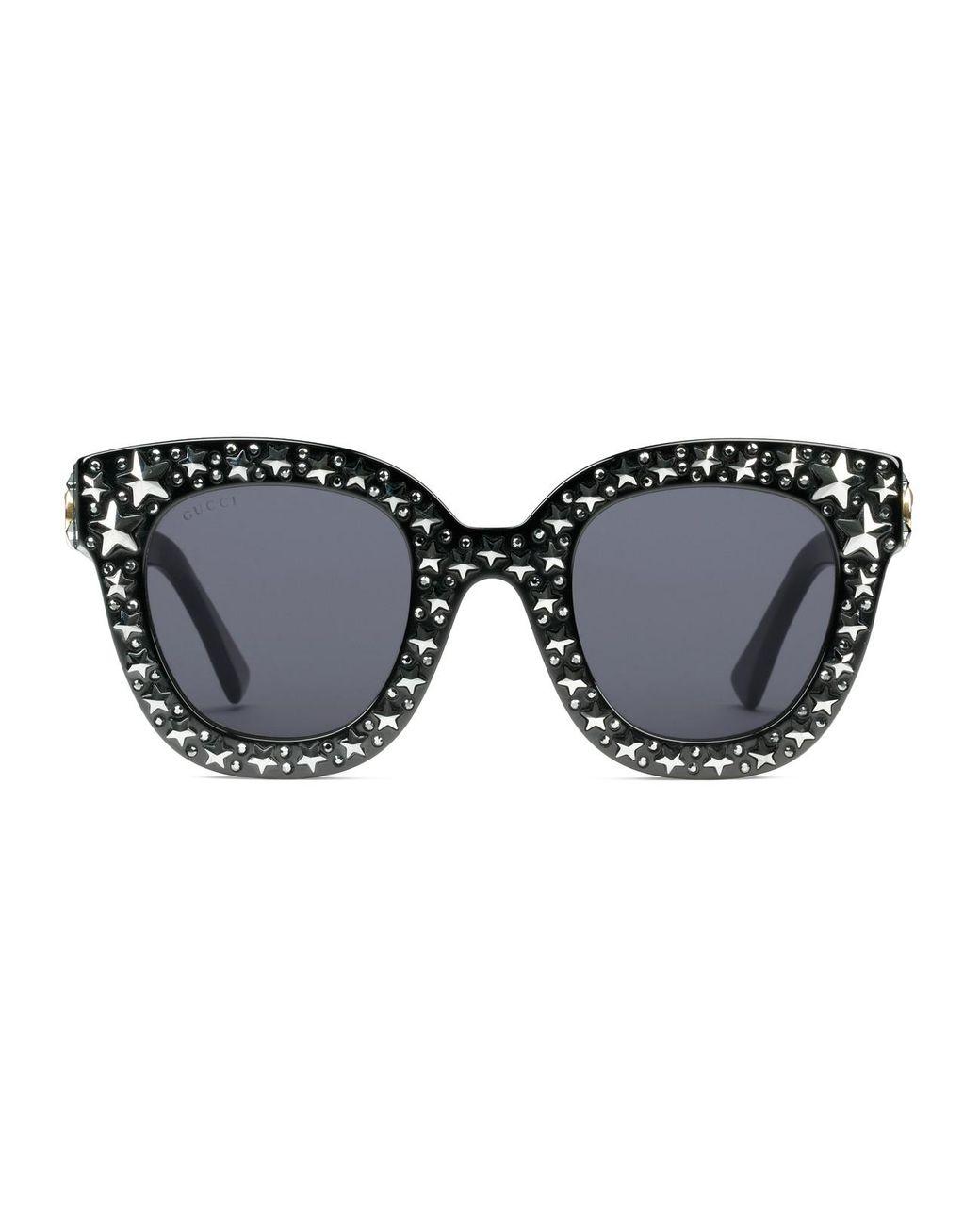 9e4cf706da22b Gucci Cat Eye Acetate Sunglasses With Stars in Black - Lyst