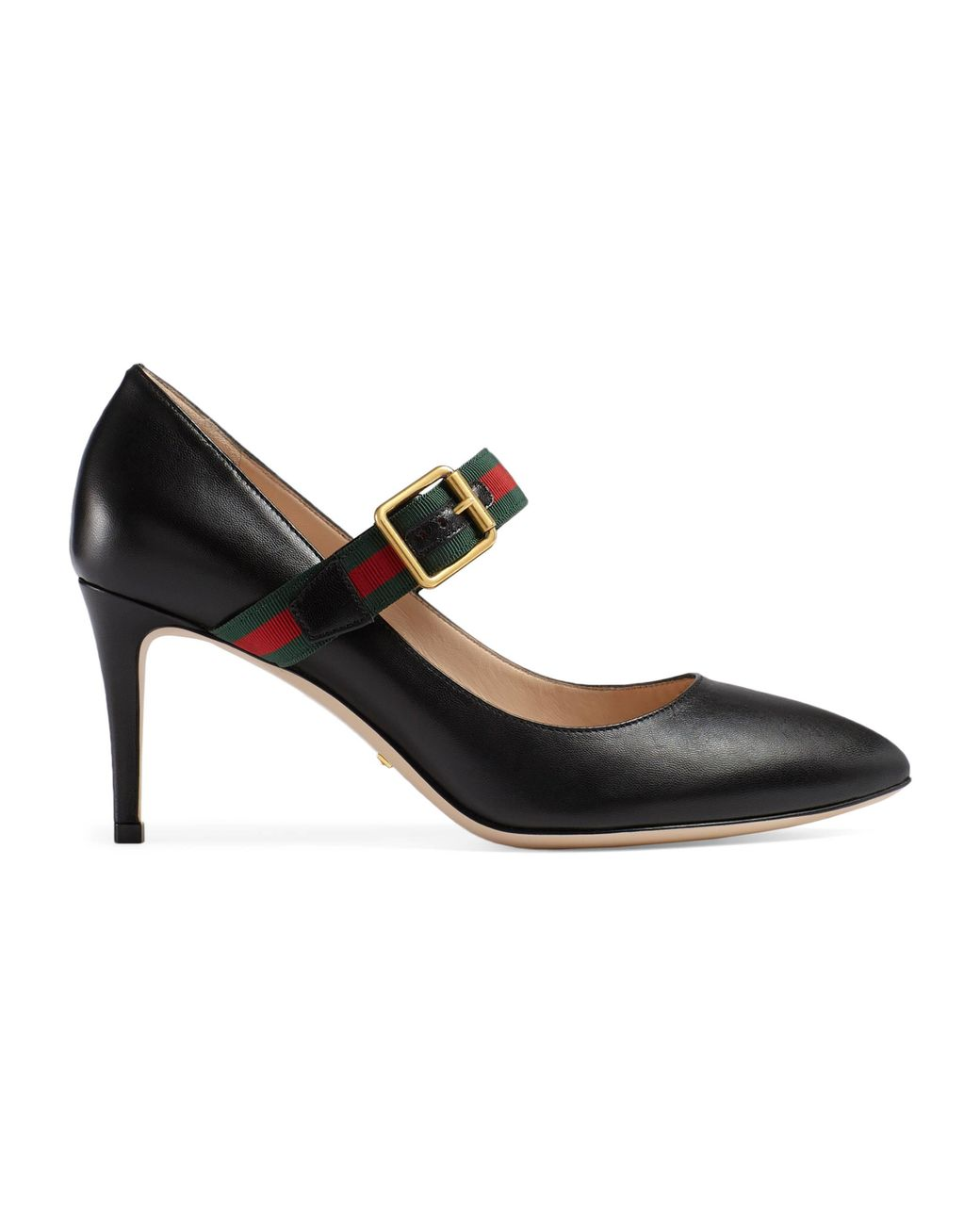 52d666e4eec Gucci Sylvie Leather Mid Heel Pump in Black - Lyst