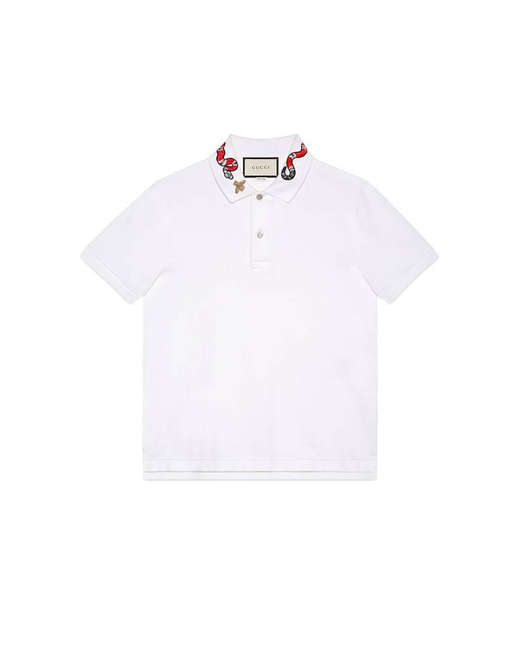 169a4505c14b Gucci Cotton Polo With Snake Embroidery in White for Men - Lyst