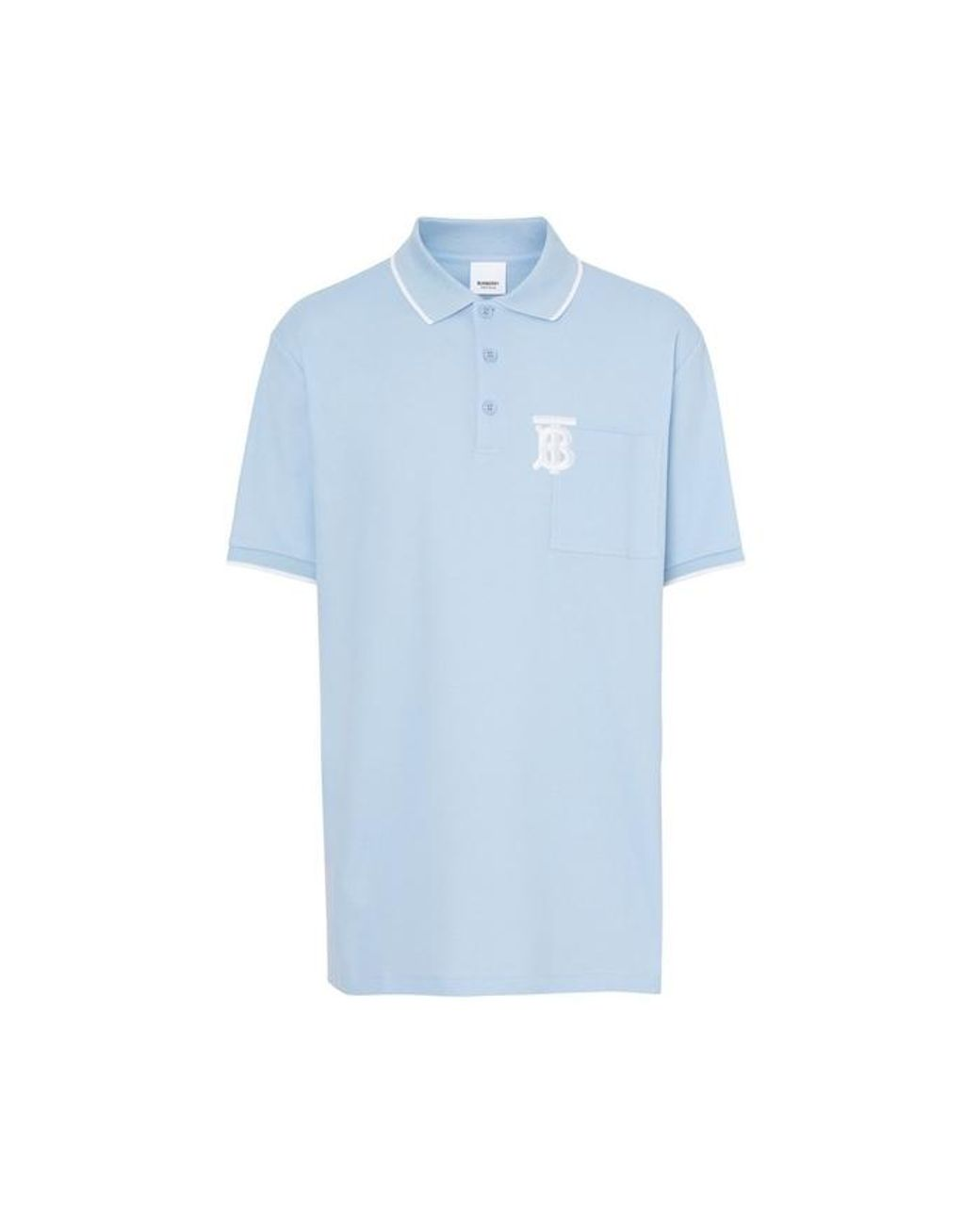 041f32cf4b0267 Long-Touch to Zoom. Burberry - Blue Monogram Motif Tipped Cotton Pique Polo  Shirt ...