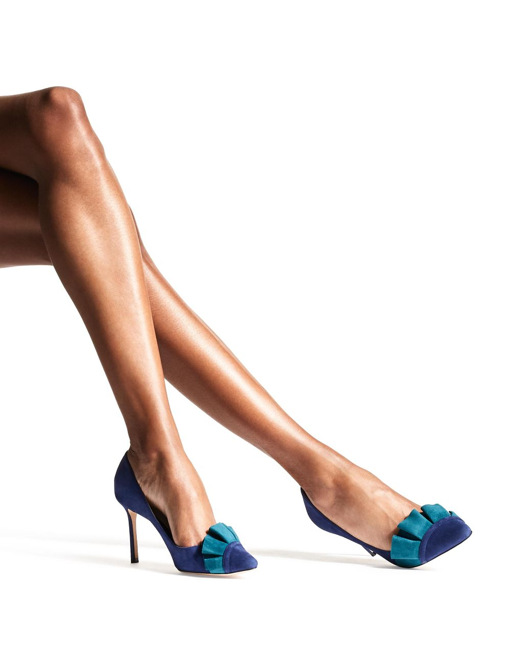 78f4924c5ea Jimmy Choo Leena 85 Pop Blue Suede Pump With Teal Suede Frill in Blue -  Save 50% - Lyst