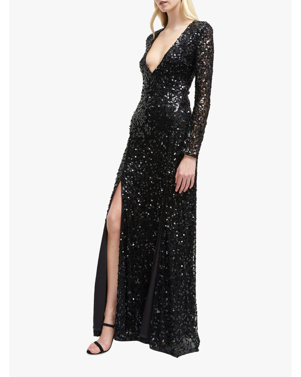 8ec6750e4e9 French Connection Helena Sequin V-neck Maxi Dress in Black - Lyst