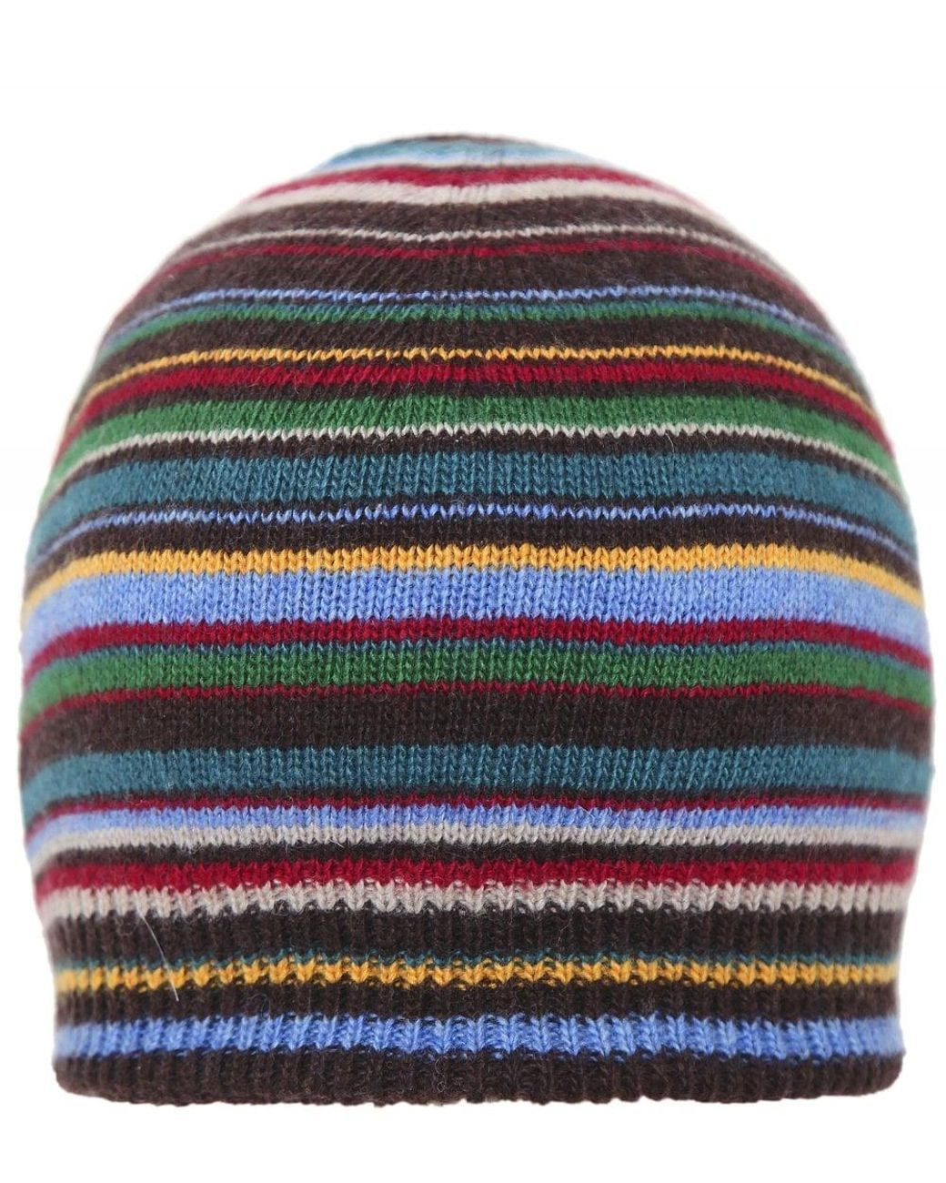 31170031c2ed6 Lyst - Paul Smith Cashmere Blend Striped Beanie in Blue for Men - Save 16%