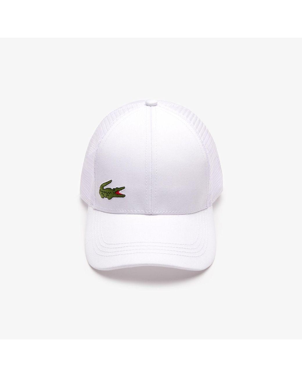 90667d3702 Lacoste Sport Gabardine And Mesh Tennis Cap in White for Men - Lyst