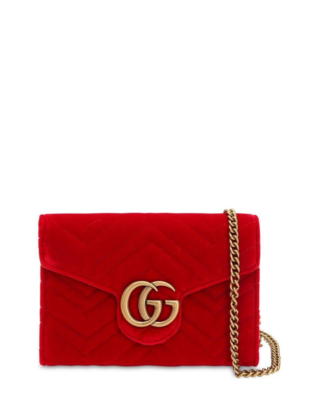 dad69cb2b42 Gucci Gg Marmont Velvet Shoulder Bag in Red - Lyst