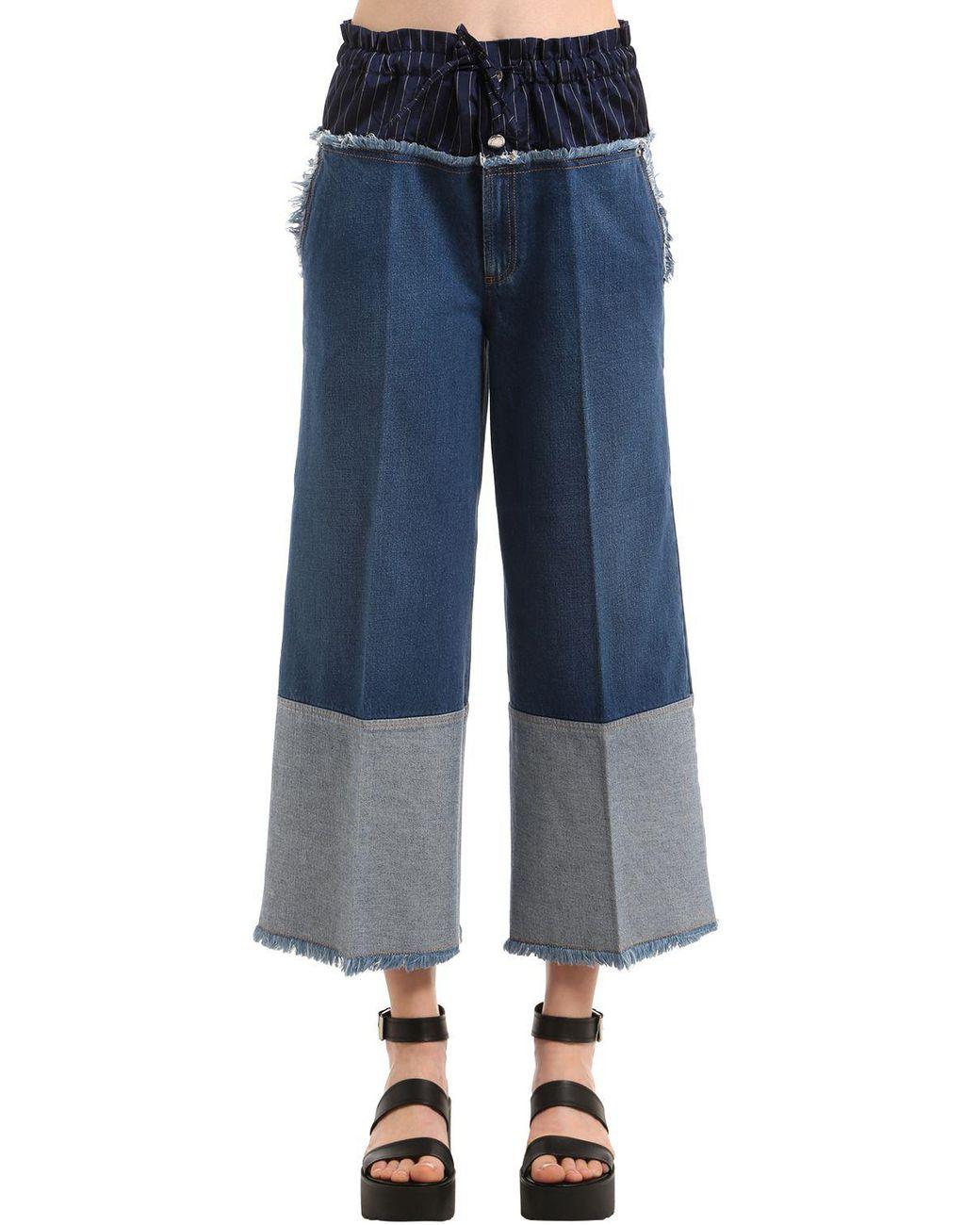 be084da181 Sonia Rykiel Cropped Denim Jeans W/ Boxer Waist in Blue - Lyst