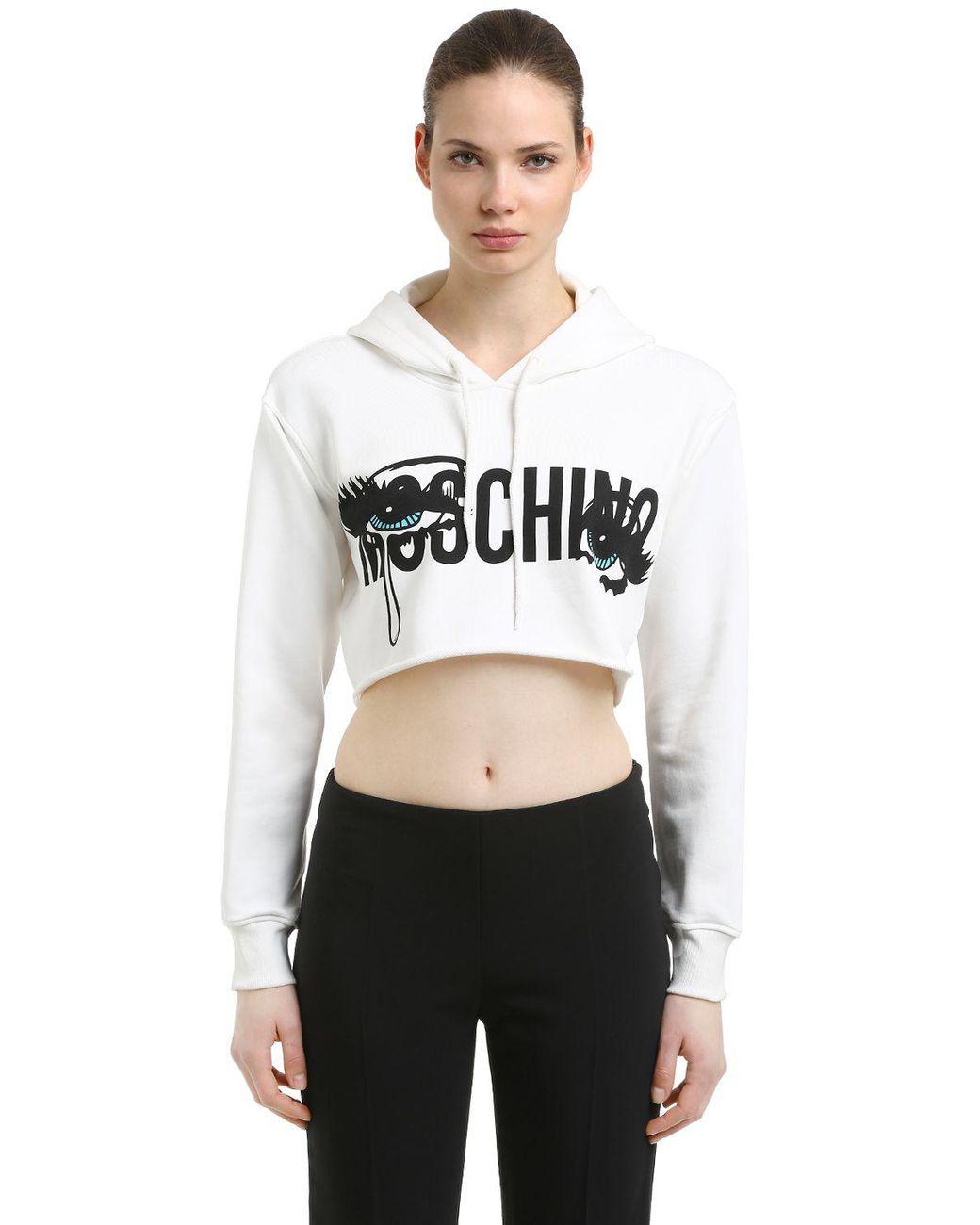 b45802bedeb30 Moschino Eyes Hooded Cotton Crop Sweatshirt in White - Lyst