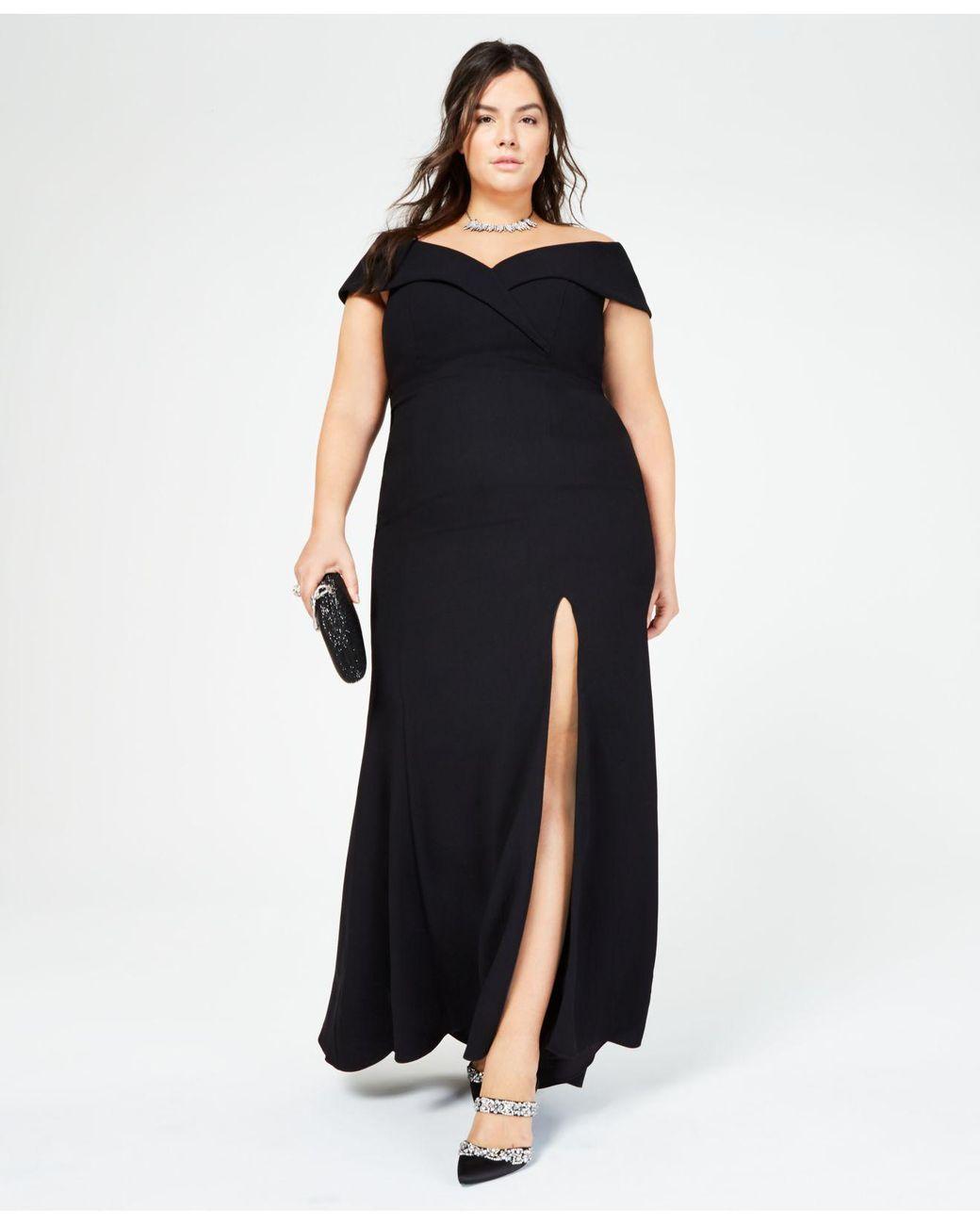 34fd2da7650 Xscape Plus Size Off-the-shoulder Slit Gown in Black - Lyst