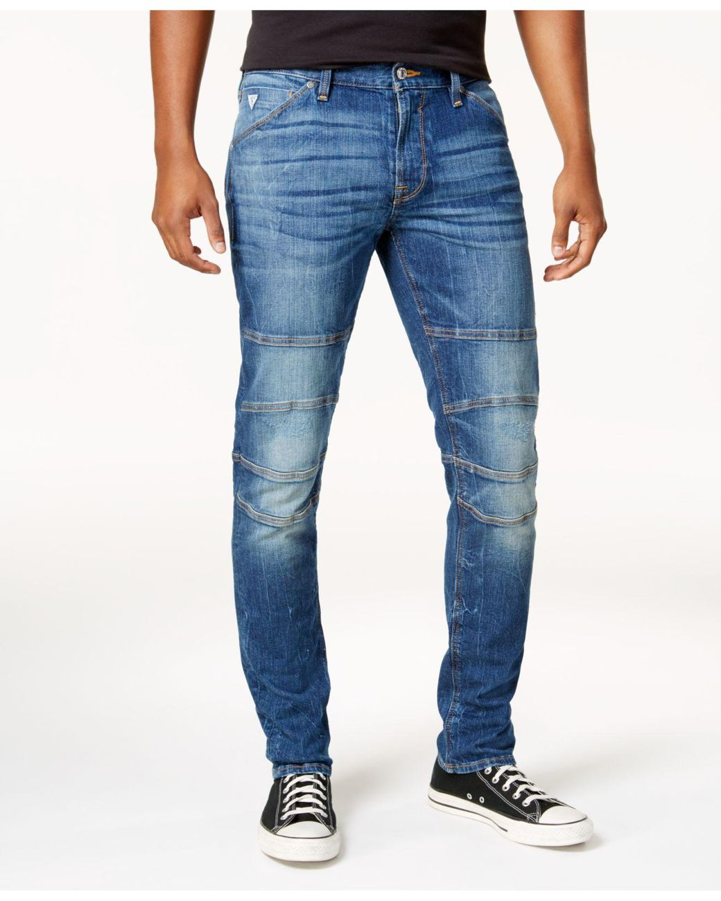 5bdb3b5cd70d4b Guess Men's Slim-fit Tapered Stretch Destroyed Moto Jeans in Blue for Men -  Lyst