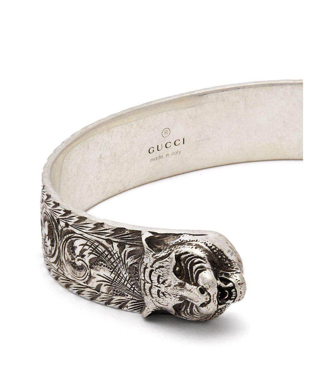 49deef695 Gucci Tiger Head Sterling Silver Cuff Bracelet in Metallic for Men - Lyst