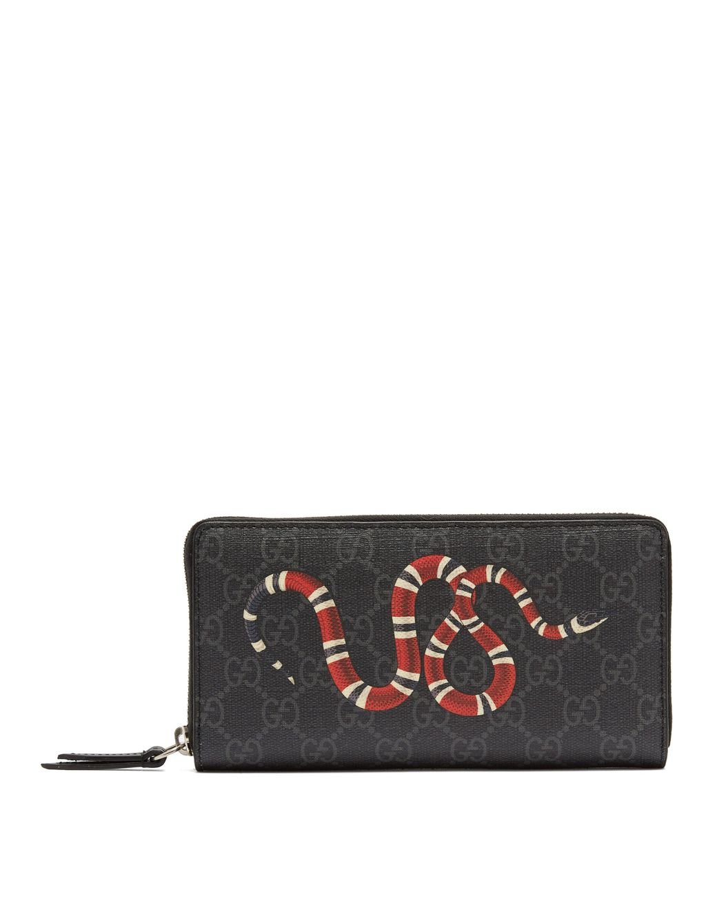 dbc073906bae Gucci Kingsnake Zip Around Leather Wallet in Black for Men - Lyst