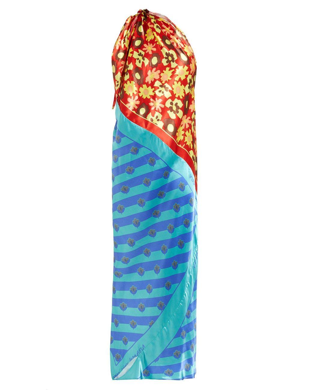 021aafa33ba MM6 by Maison Martin Margiela. Women's Blue One Shoulder Scarf Satin Dress