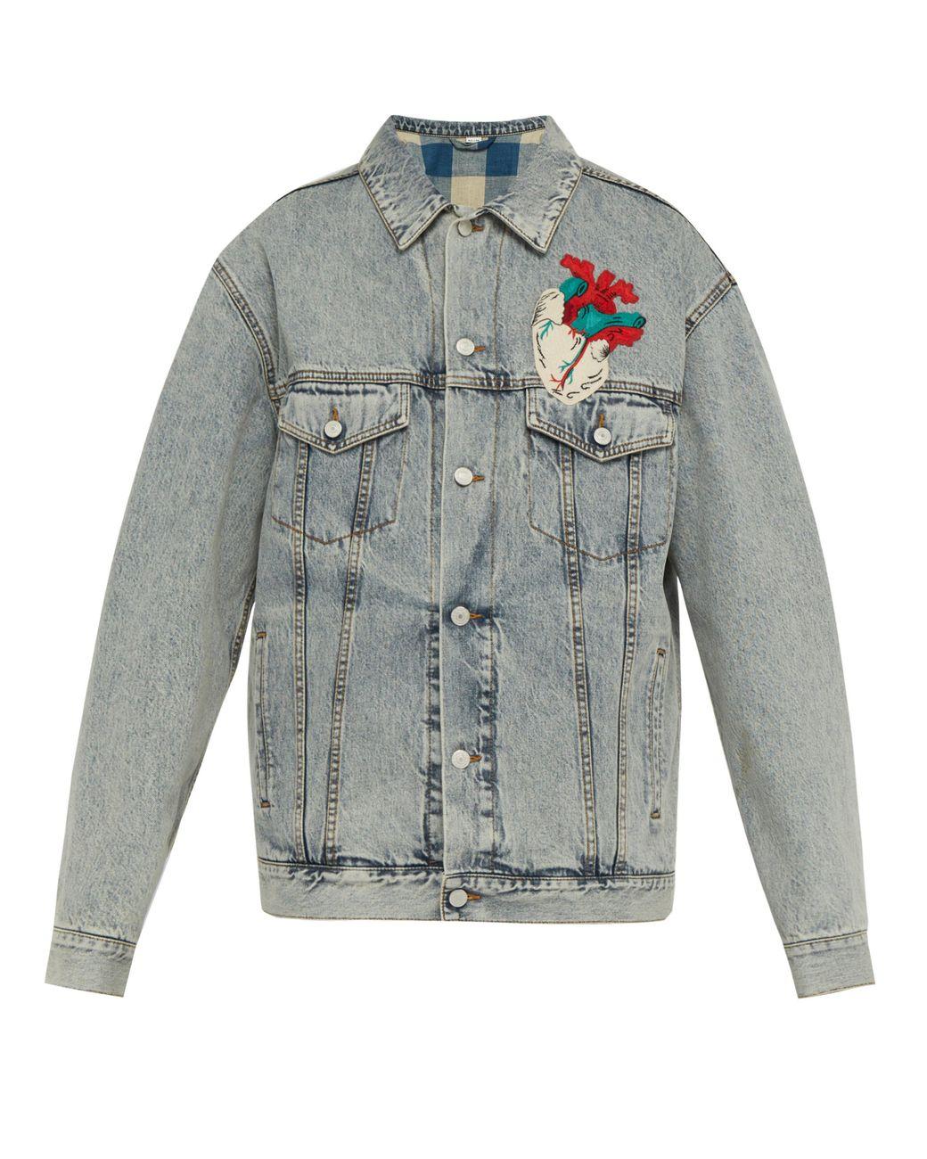601837c7058 Gucci Heart Appliqué Oversized Denim Jacket in Blue for Men - Lyst