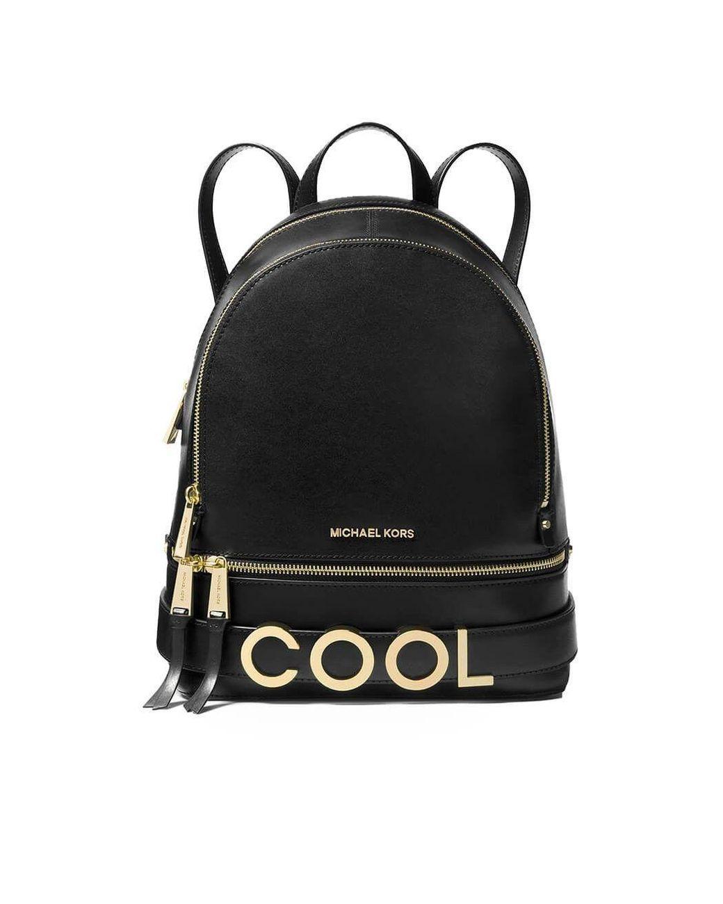 d5ba7345331d Lyst - Michael Kors Rhea Medium Embellished Leather Backpack in Black -  Save 55%