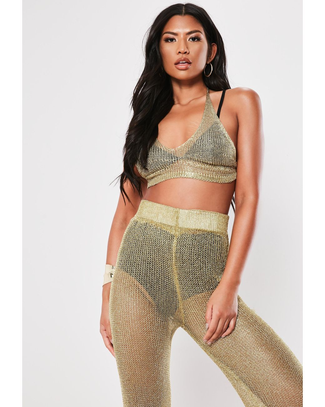 573e93e346 Missguided Gold Co Ord Triangle Bralet in Metallic - Lyst