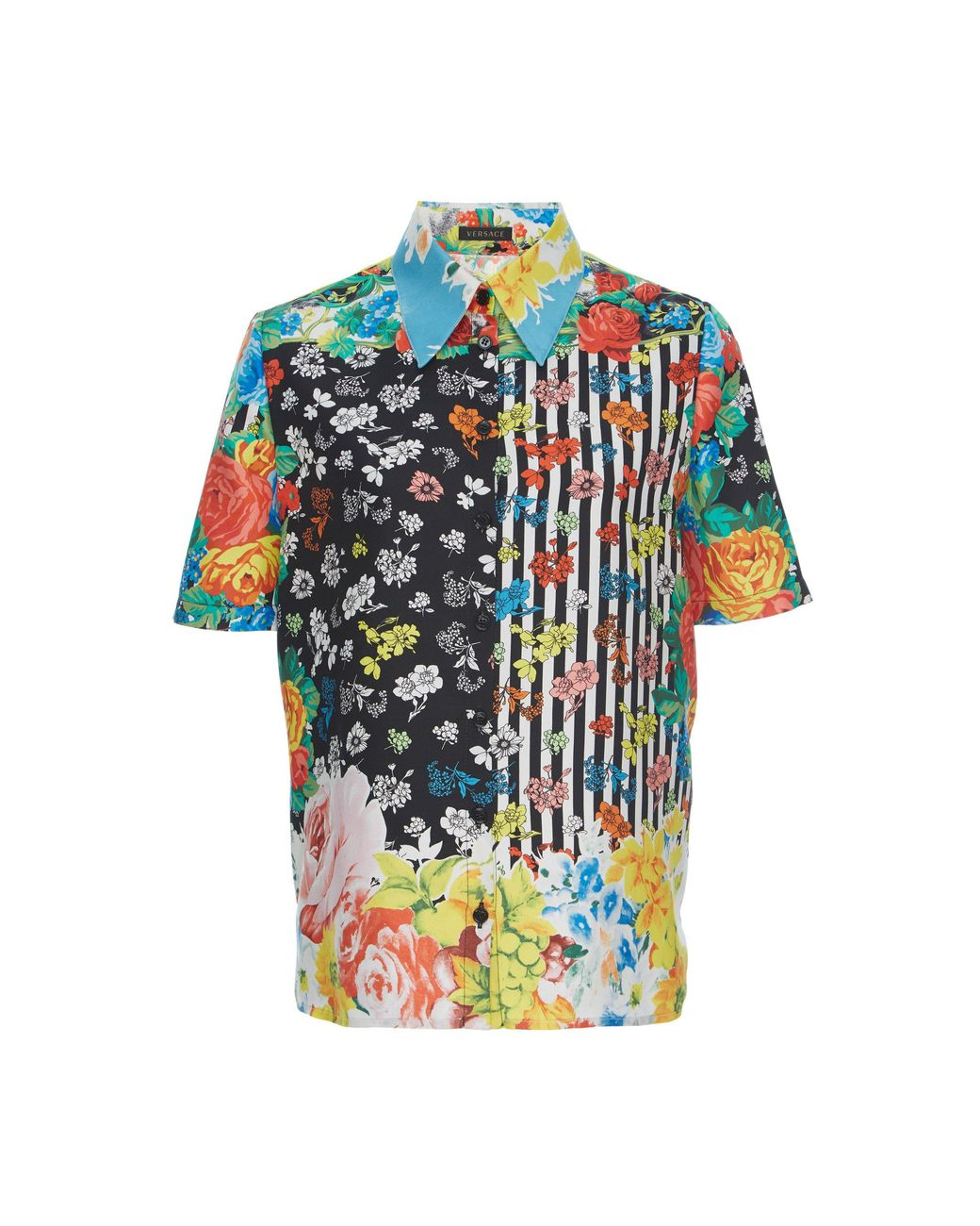 8013bfb7 Versace Floral Short-sleeve Silk Shirt in Blue - Lyst