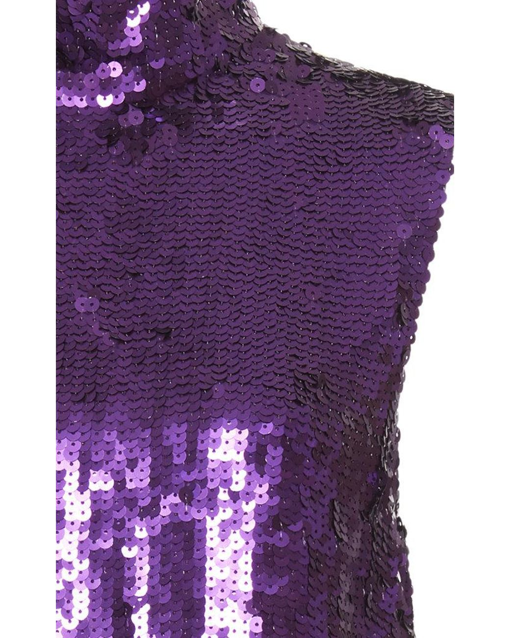 2d6b14396cc71 Lyst - Tibi Sequin Turtleneck Shell Top in Purple