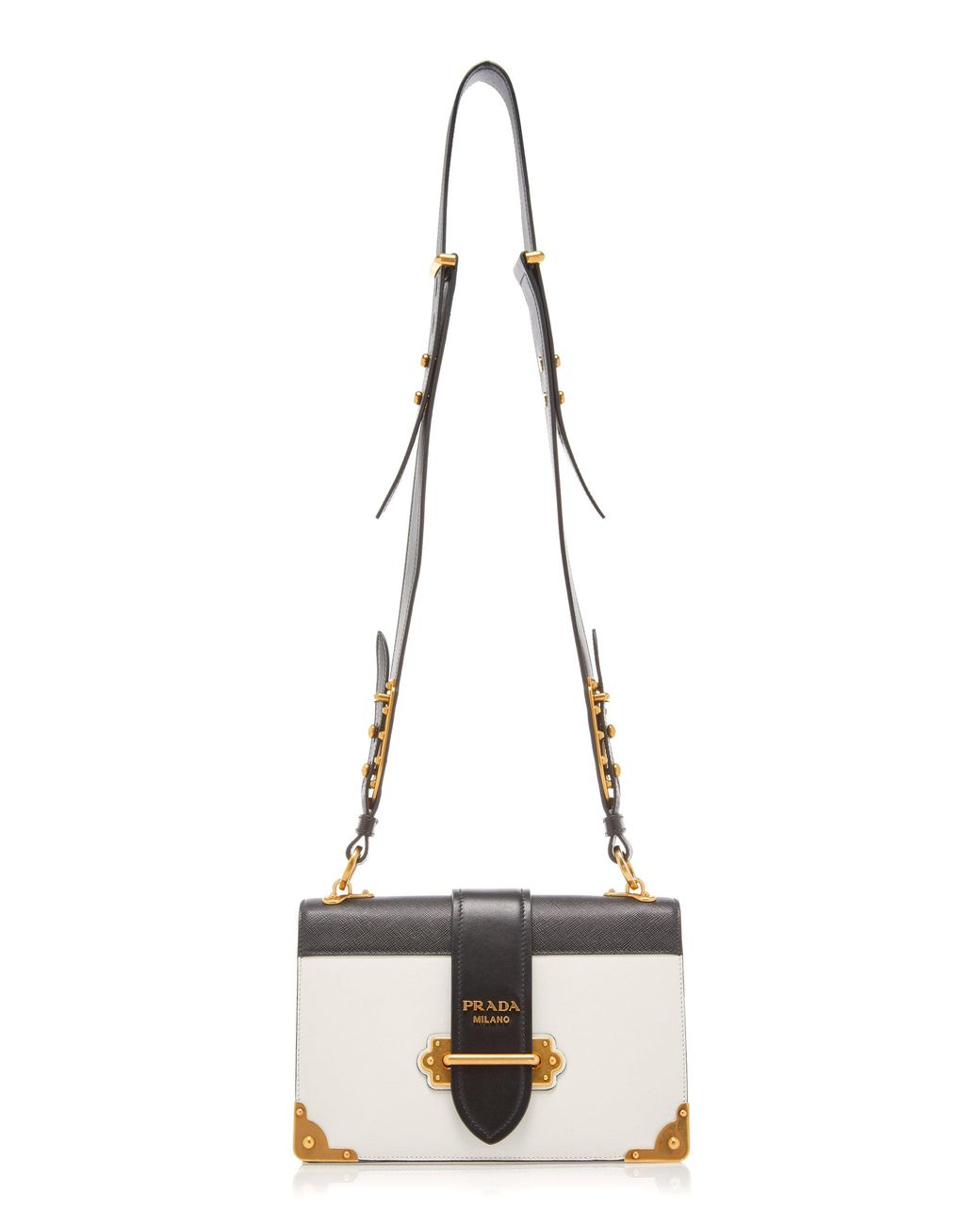 238e25540cde Lyst - Prada Cahier Large Two-tone Leather Shoulder Bag in Black