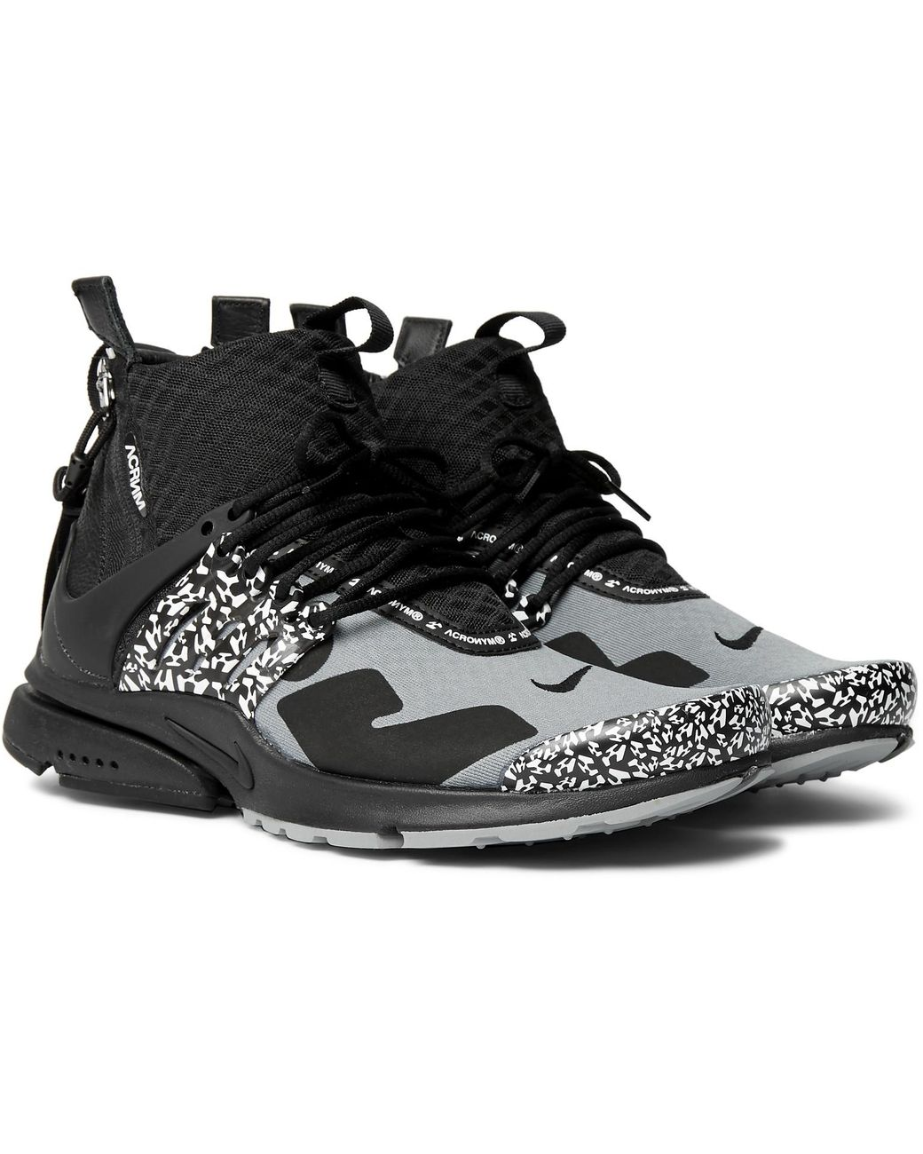 7d43dcb31 Nike. Men s Gray Acronym Air Presto Mid Leather And Rubber-trimmed Mesh  Sneakers