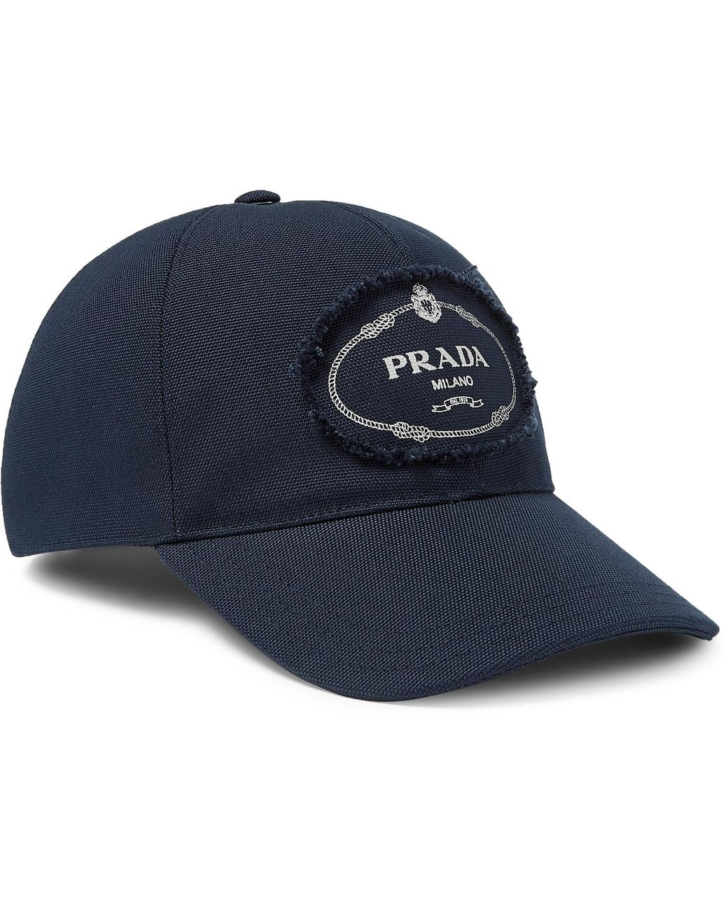 6b137616a0685d Long-Touch to Zoom. Prada - Blue Logo-print Cotton-canvas Baseball Cap ...