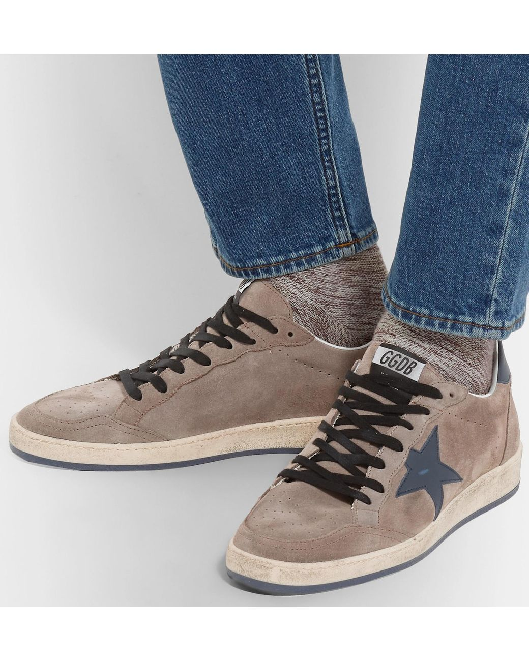 Brown Ball Star Distressed Suede