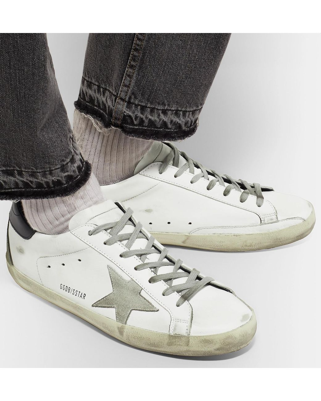 0bd8b3189770e golden goose deluxe brand men s white superstar distressed suede and leather  trainers