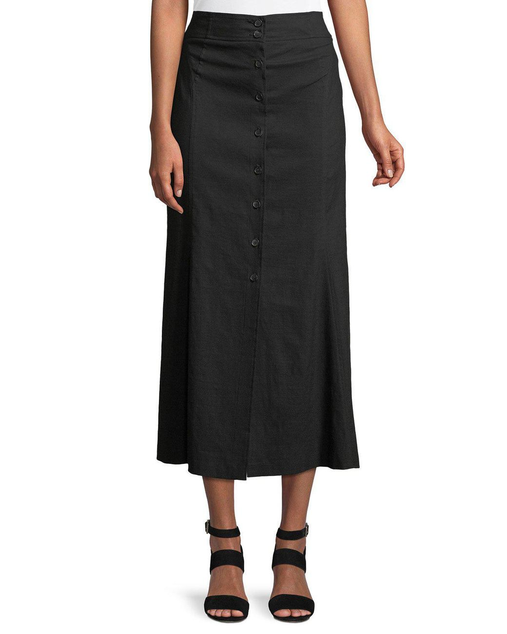 3e4aba7a2 A.L.C. Amelie Button-front Midi Skirt in Black - Lyst