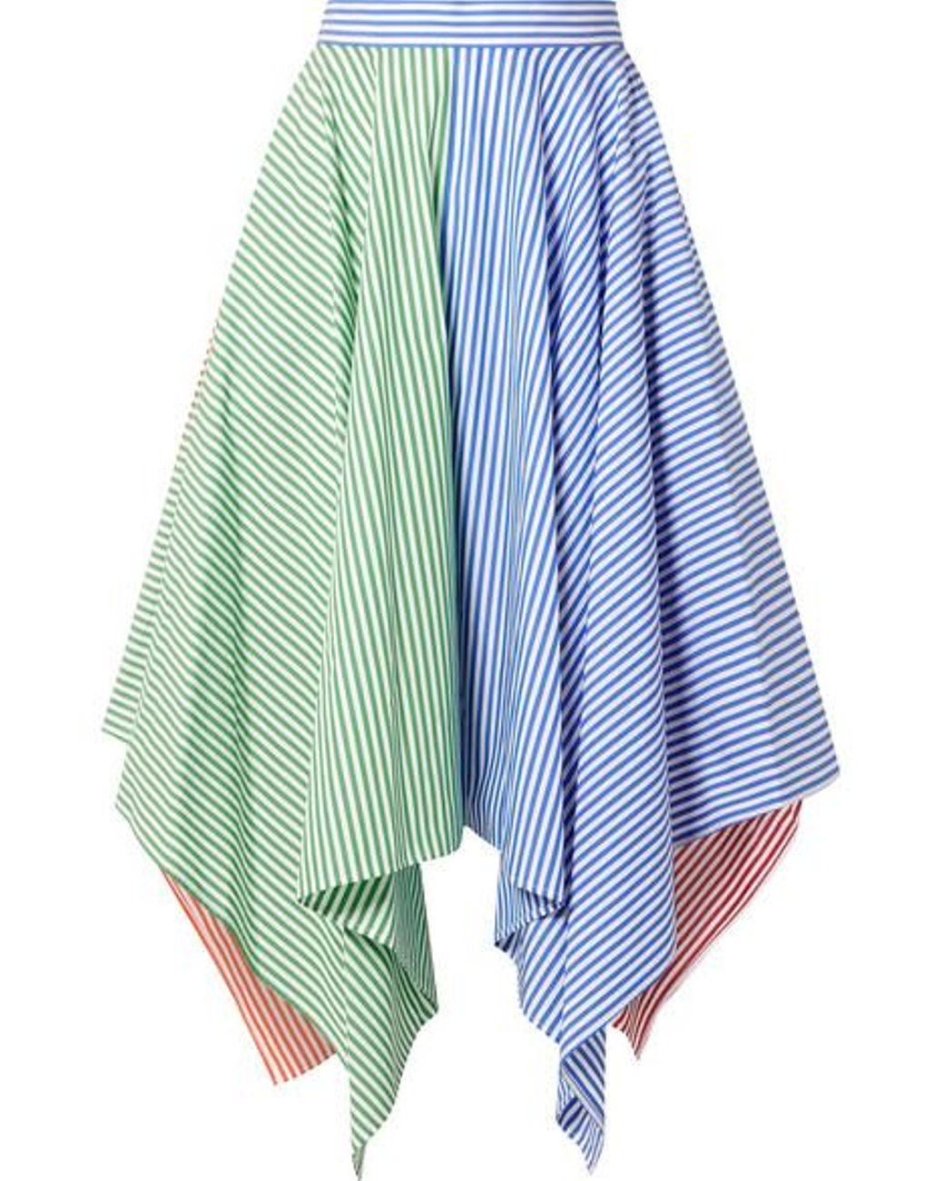50c90834349cd5 MDS Stripes Asymmetric Striped Cotton-poplin Skirt in Blue - Lyst