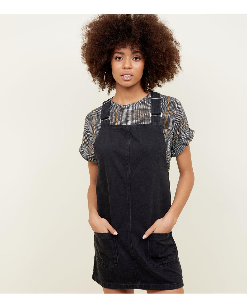 cb8460a001ee3 Long-Touch to Zoom. New Look - Black Buckle Denim Pinafore Dress ...