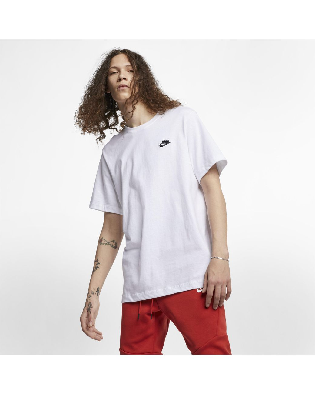0a628484b Nike Crew Neck Club T Shirt White in White for Men - Save 6% - Lyst