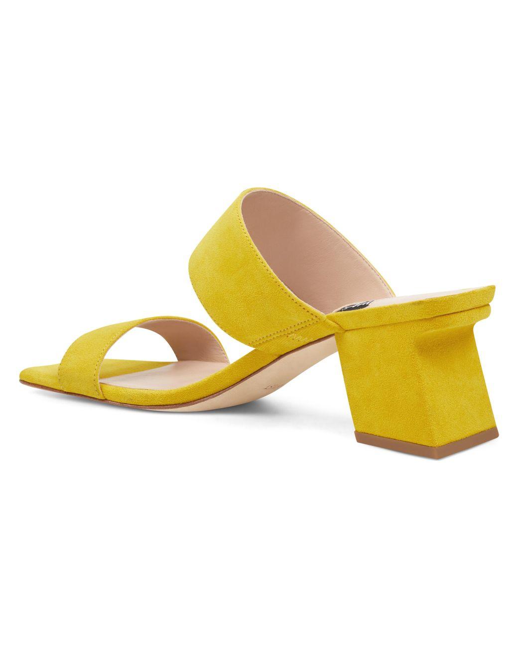 5134b99b0dcd Lyst - Nine West Churen Double Strap Mule Sandals in Yellow - Save 34%