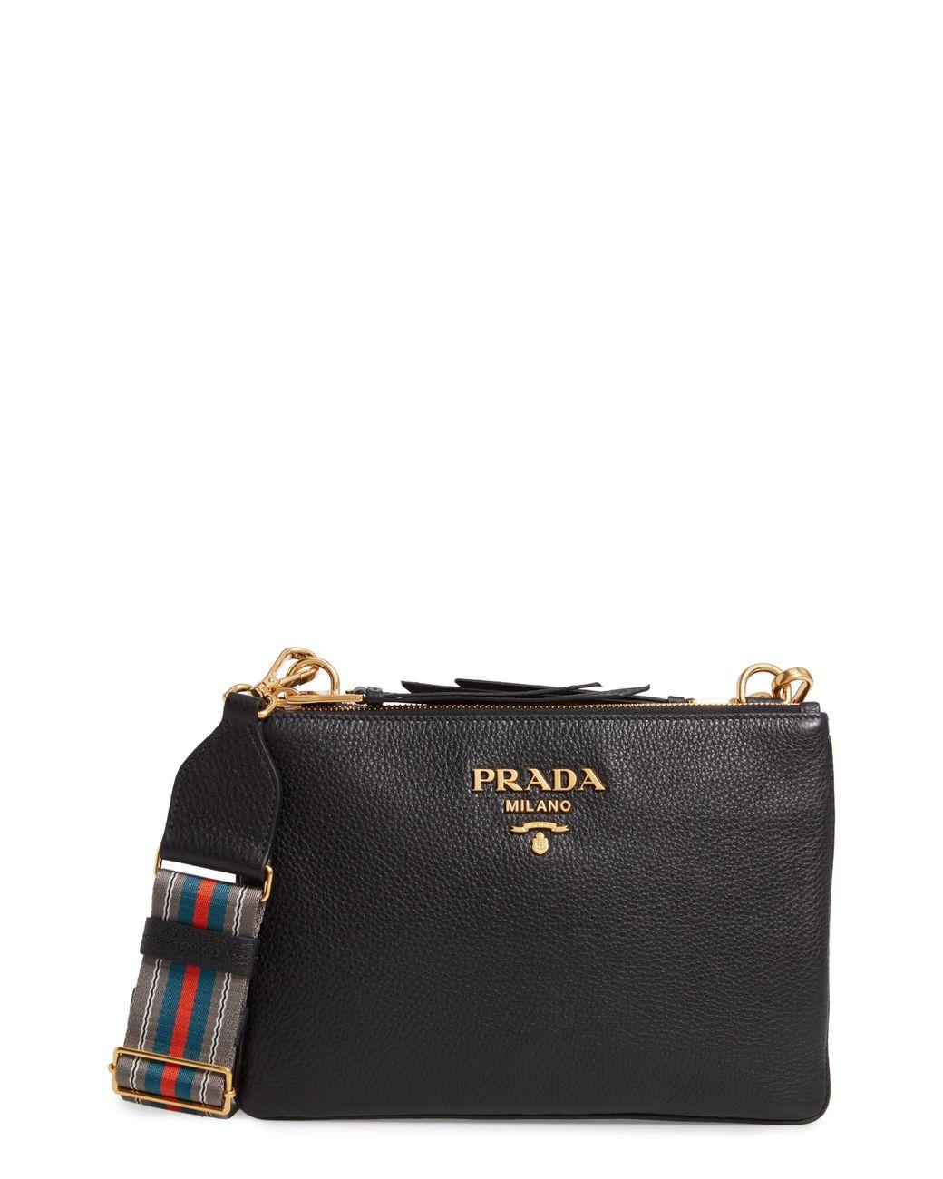 689eb74eb179 Lyst - Prada Vitello Daino Double Compartment Leather Crossbody Bag ...