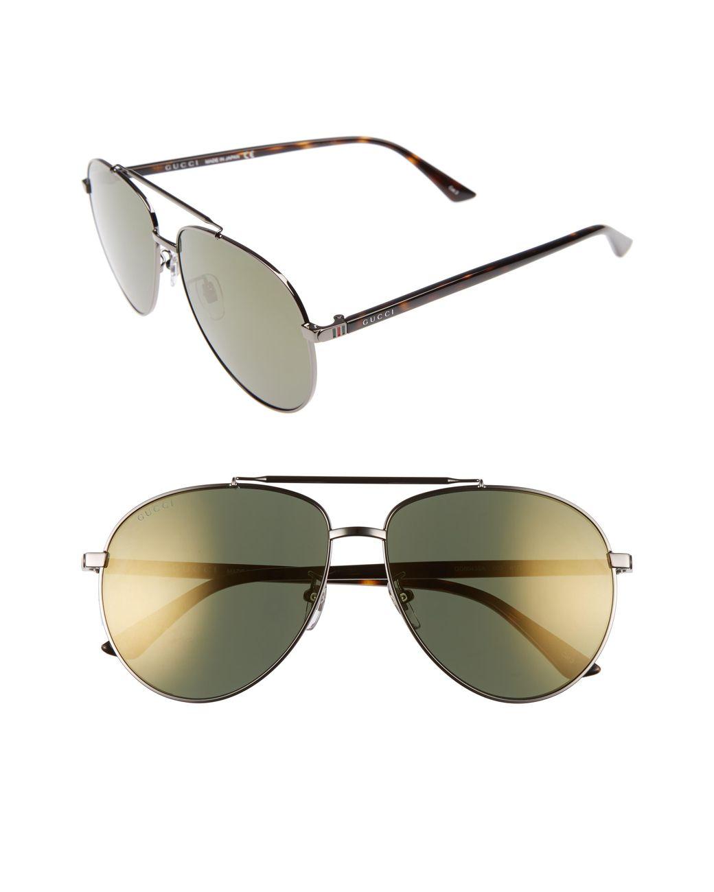 ea1e5b5a7 Gucci Retro Web 61mm Aviator Sunglasses - Ruthenium W.mirror Gun Lens in  Metallic for Men - Lyst