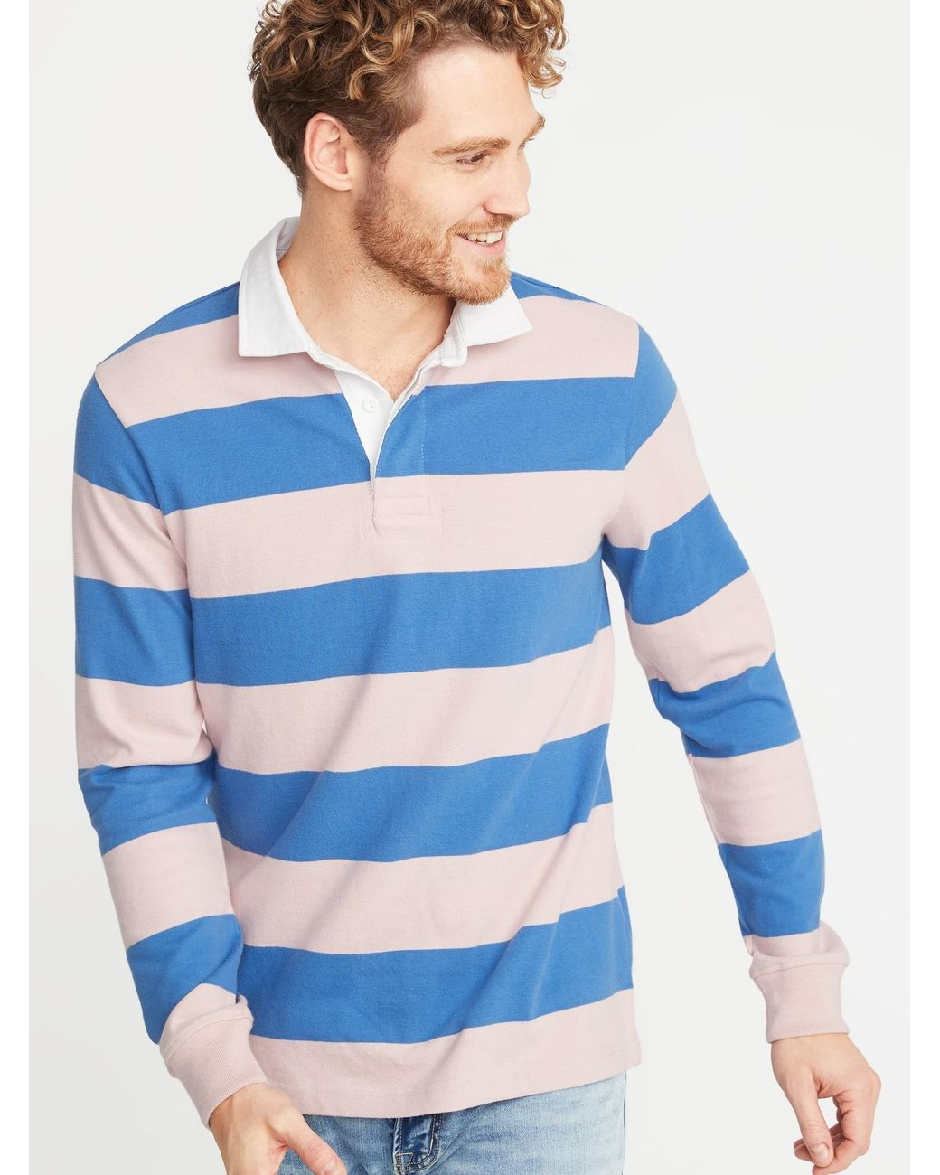 1fbb2b51d Old Navy Bold-stripe Thick-knit Jersey Rugby in Blue for Men - Lyst