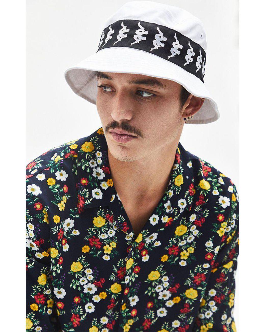 5a030588bfd59 Kappa 222 Banda Bzahlab Bucket Hat in White for Men - Lyst