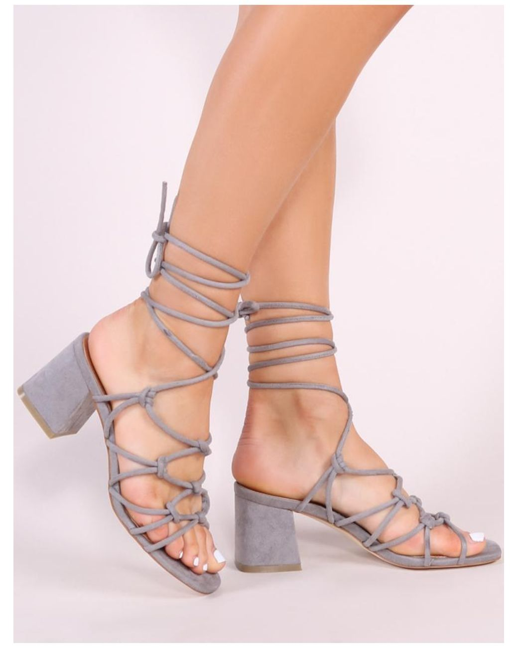 f4520abee87 Public Desire Freya Knotted Strappy Block Heeled Sandals In Grey ...