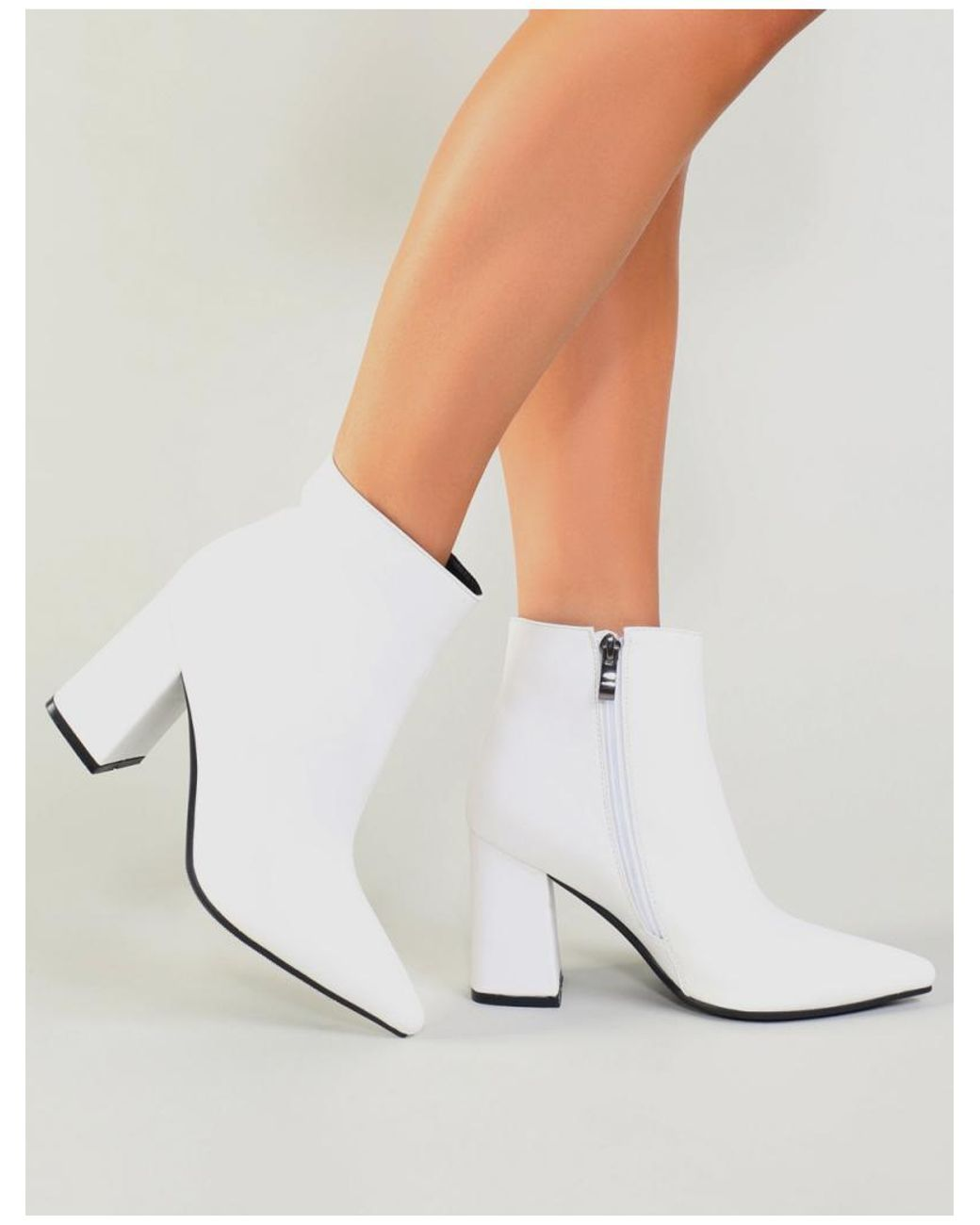 12af13c73e Public Desire Empire Pointed Toe Ankle Boots In White in White - Lyst