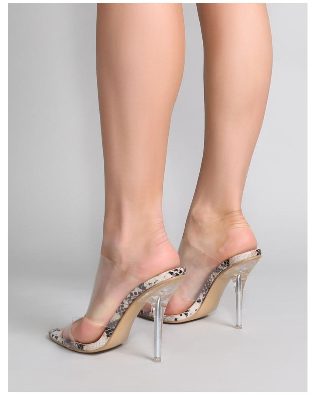 f1ee945fce4 Lyst - Public Desire Boujee Perspex Heel Mules In Faux Snake