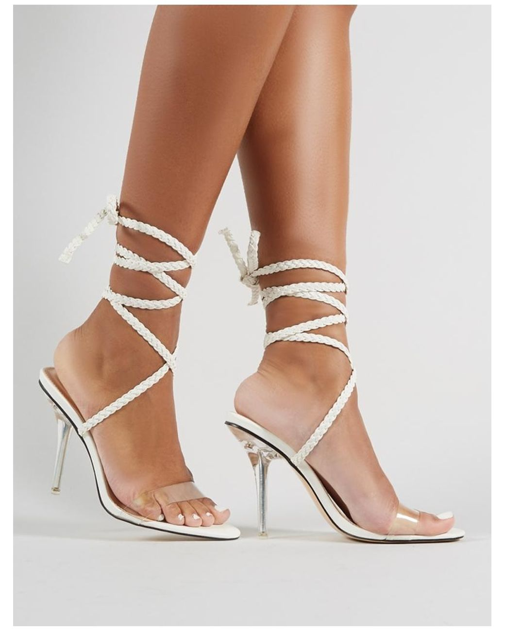 40b8738098d Lyst - Public Desire Bodega Lace Up Perspex Heels In White in White