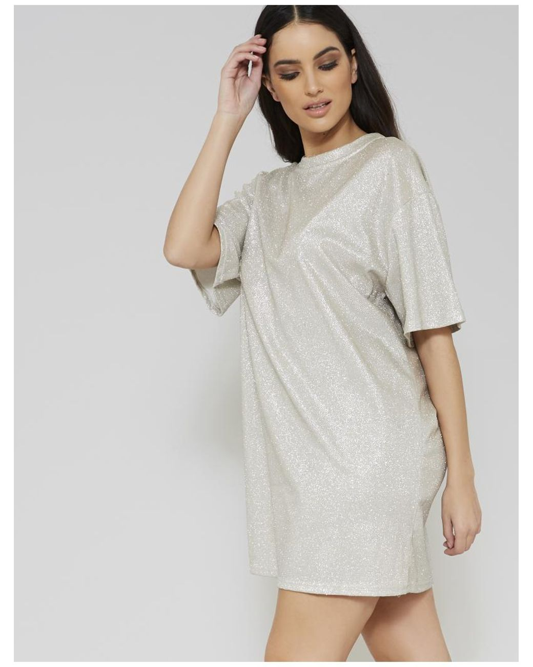 e50711856e5 Lyst - Public Desire Silver Glitter Oversized T-shirt Dress in Metallic