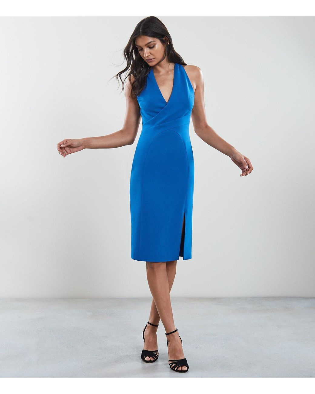 72ce72f652ca15 Reiss Abriana - Wrap Front Dress in Blue - Lyst