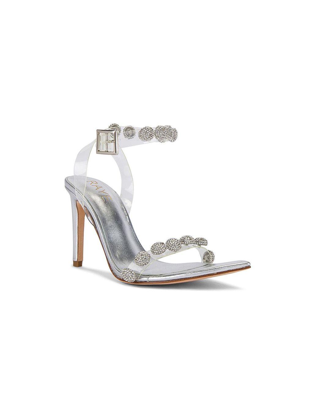 Raye Leather Cascade Heel In Silver Metallic Lyst